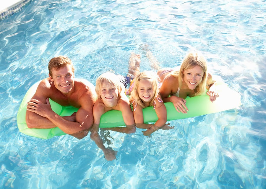 summer tips with family in pool in Portland